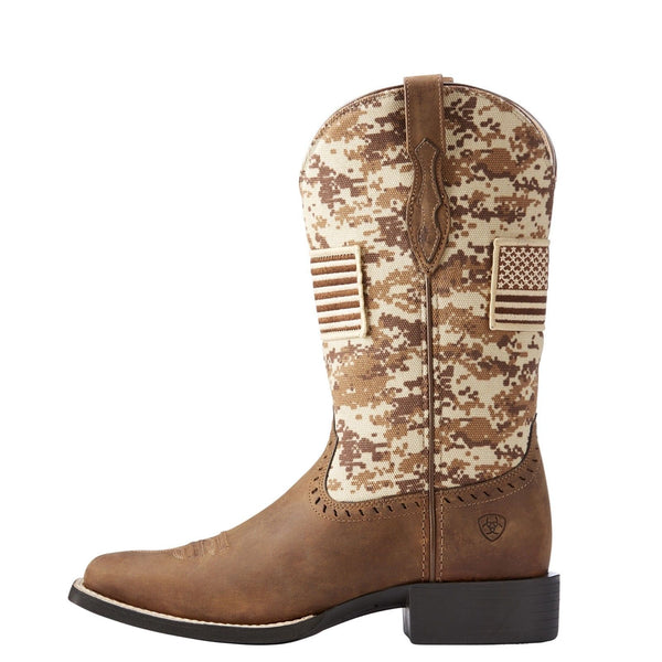 Ariat® Ladies Round Up Patriot Brown Sand Camo Flag Boots 10023368 - Wild West Boot Store