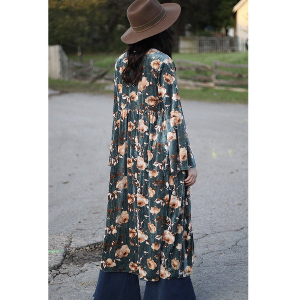 Turquoise Haven Ladies Mint Floral Velvet Bell Duster 1425-605