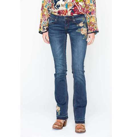 Grace in L.A. Ladies Easy-Fit Floral Embroidered Boot Cut Jeans JB-71040