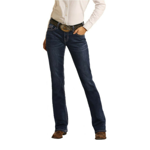 Rock & Roll Cowgirl Ladies Riding Boot Cut Denim Jeans W7-4166