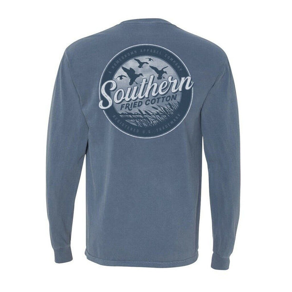Southern Fried Cotton Duck In The Marsh Blue Jean LS T-Shirts SFM31510