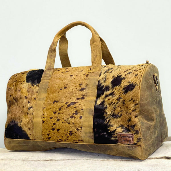 American Darling Brown Cowhide With Leather Duffel Bag ADBGS174BRAC2