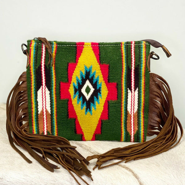 American Darling Green Aztec Saddle Blanket Crossbody ADBG236G