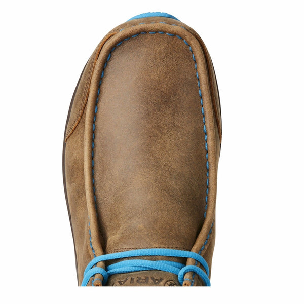 Ariat® Men's Spitfire Brown Bomber/Blue Moccasin Boots 10021690 - Wild West Boot Store