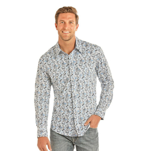 Rock & Roll Cowboy Men's Crinkle Washed Poplin Print Shirts B2S1134