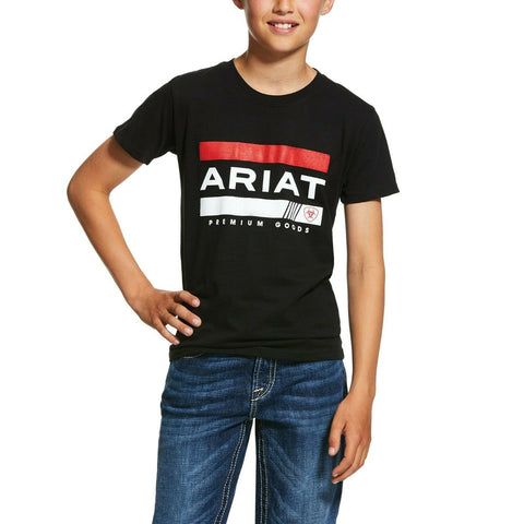 Ariat® Boy's Black Bar Stripe Short-Sleeve T-Shirt 10031689