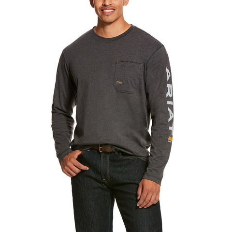 Ariat® Men's Rebar Workman Grey Long Sleeve Logo T-Shirts 10027815