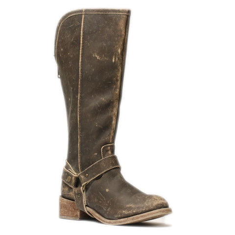 Corral Ladies Distressed Brown Tall Harness Boot P5100 - Wild West Boot Store - 1