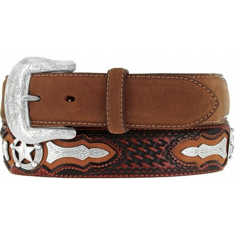 Brighton Men's Black-Tan Odessa Star Belt C10765