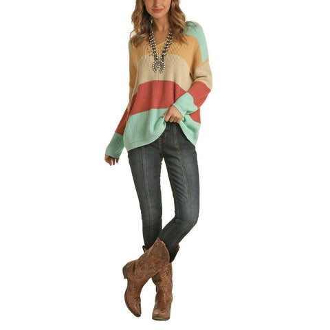 Rock & Roll Cowgirl Color Block Lace Up Shirt 46-6321