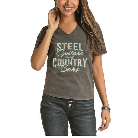 Rock & Roll Cowgirl Distress Washed Graphic T- Shirt 49T6314