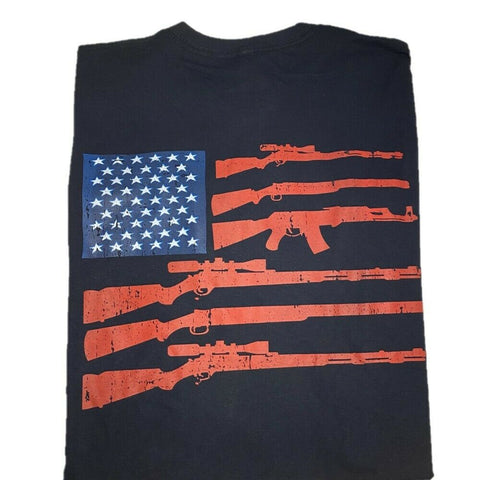 "2nd Amendment Shirts ""Flag Rifle"" Black Short Sleeve T-Shirt 22482"