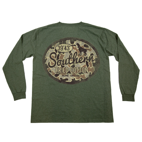 Southern Fried Cotton Camo Gas Patch Heather Olive LS T-shirt SFM31324