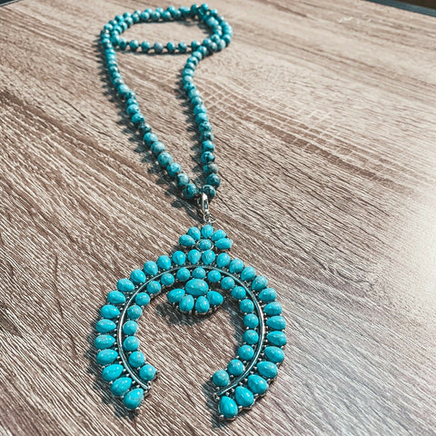 Crooked Fence Turquoise Beaded Squash Blossom Necklace SN90207
