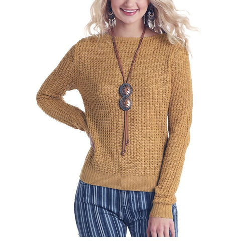 Panhandle Ladies Mustard Yellow Long Sleeve Sweater Shirt J8-6836