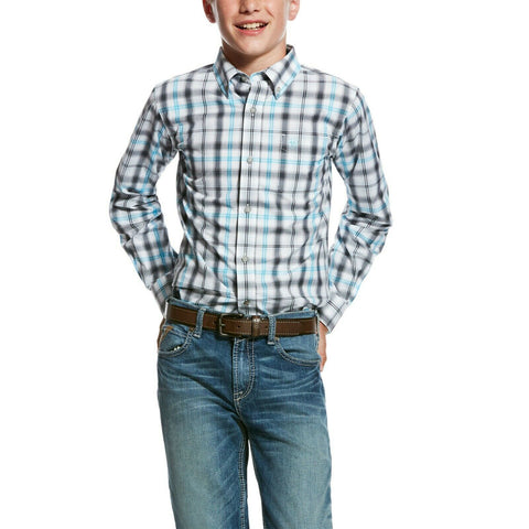 Ariat® Boy's White Long Sleeves Mickler Performance Shirt 10026450