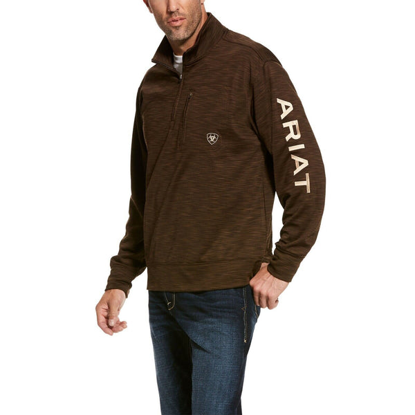 Ariat® Men's Team Logo Dark Brown 1/4 Zip Fleece Sweatshirt 10027988