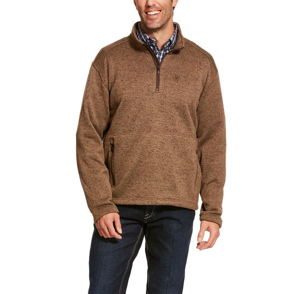 Ariat® Men's Caldwell 1/4 Zip Fossil Brown Pullover Sweater 10027986