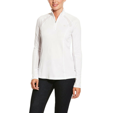 Ariat® Ladies Sunstopper 2.0 White 1/4-Zip Pullover Baselayer 10030471