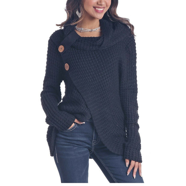 Panhandle Ladies Black Long Sleeve Waffle Knit Shirt L8T6410-01