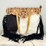 American Darling Black and White Cowhide Fringe Purse ADBGS144BKW