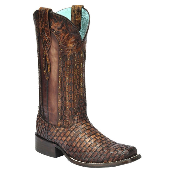 Corral Ladies Exotic Tan Woven Lizard Square Toe Boot C3079 - Wild West Boot Store - 1