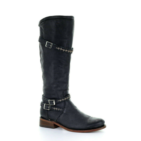 Circle G by Corral Ladies Black Woven & Straps Round Toe Boots Q5041