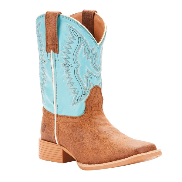 Ariat Children's Bristo Tan Tilt & Bustin Blue Cowboy Boots 10025167 - Wild West Boot Store