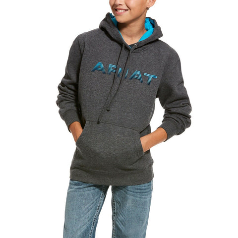 Ariat® Kid's Charcoal Grey & Blue Graphic Logo Hoodie 10027950