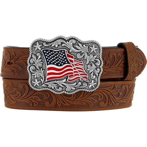 Justin Children's American Pride Embossed Brown Leather Belt C30219