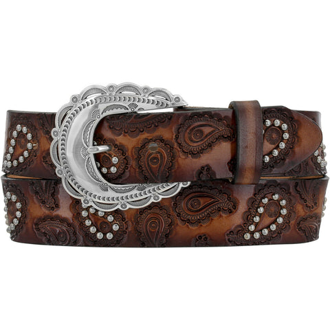 Tony Lama Ladies Brown Paisley Studded Belt C51255
