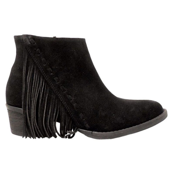 Circle G by Corral Ladies Black Suede Side Fringe Bootie Q0036 - Wild West Boot Store