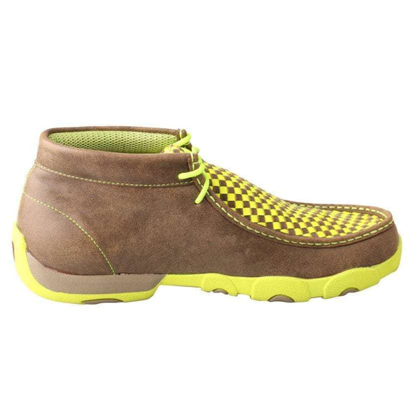 Twisted X Men's Bomber/Neon Yellow Checkered Driving Mocs MDM0029