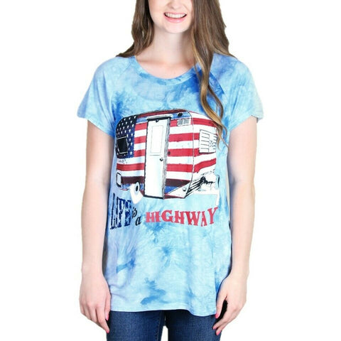 Southern Grace Ladies Life is s Highway Blue Tie-Dye T-shirt 3245C