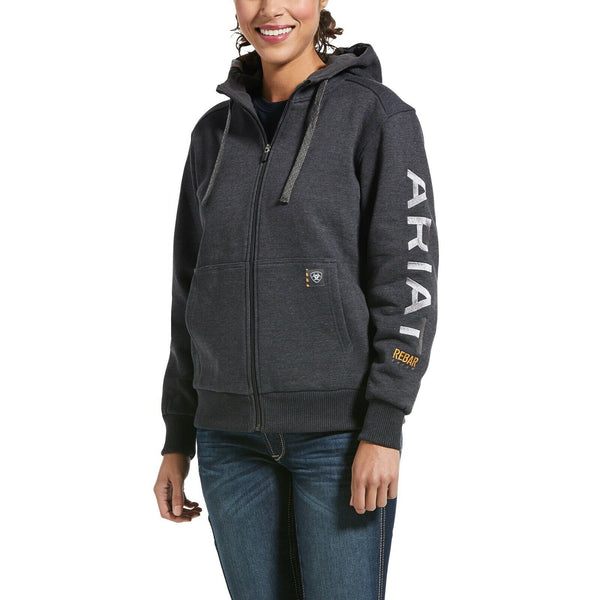Ariat® Ladies Rebar™ All-Weather Logo Grey Full-Zip Hoodie 10032910
