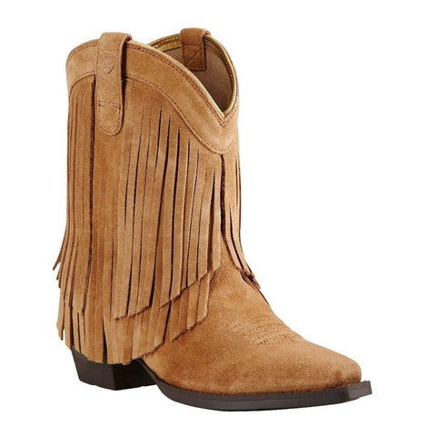 Ariat® Children's Gold Rush Rustic Bark Suede Fringe Boot 10018648 - Wild West Boot Store