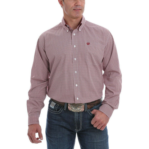 Cinch Men's Printed Red Long Sleeve Button-Down Shirt MTW1105077