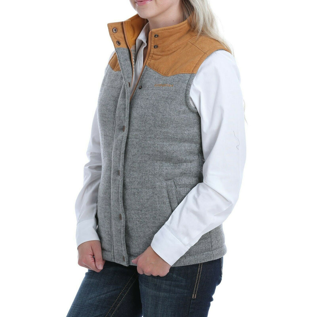 Cinch Womens Grey Quilted Brushed Tweed Vest Grey Small