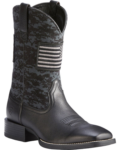 Ariat® Men's Black Sport Patriot Square Toe Boot 10023361 - Wild West Boot Store