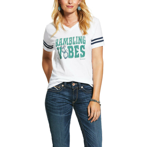 Ariat Ladies White Ramblin Vibes Short Sleeve T-Shirts 10031740