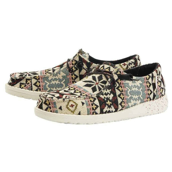 Hey Dude Ladies Wendy Woven Black Aztec Shoes 121414812