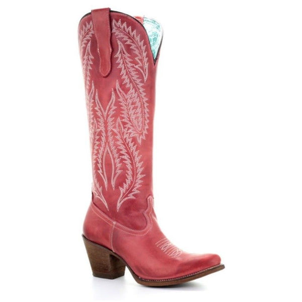 Corral Ladies Red Embroidered Tall Boot E1318 - Wild West Boot Store