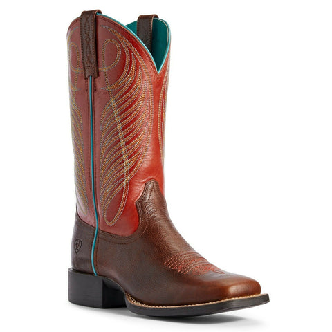 Ariat® Ladies Brick Red Round Up Wide Square Toe Boots 10031601