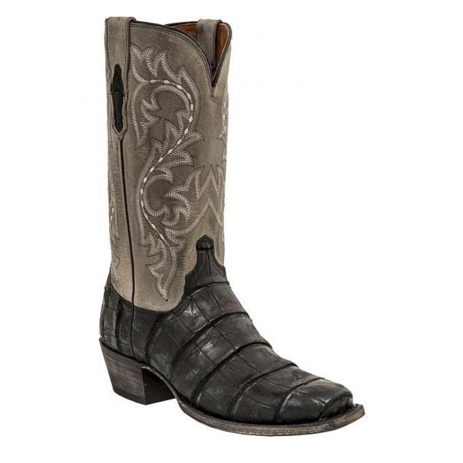 44b90e240e3 Lucchese Men's Burke Giant Alligator Black/Charcoal Boot M3196.74