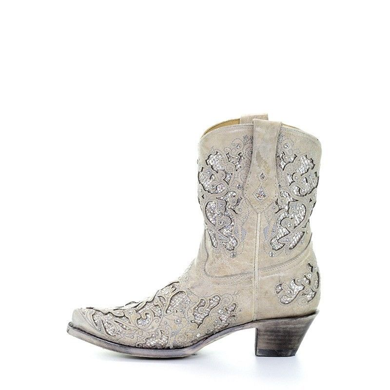 881467ee29545 Corral Ladies Mariah White Glitter Inlay & Crystals Ankle Boots ...
