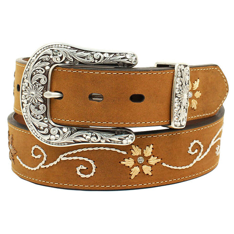 Nocona Ladies Brown Floral Embroidered Leather Belt N3447044