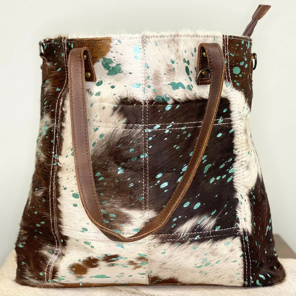 American Darling Brown & Turquoise Cowhide Shoulder Purse ADBG106ACTRQ