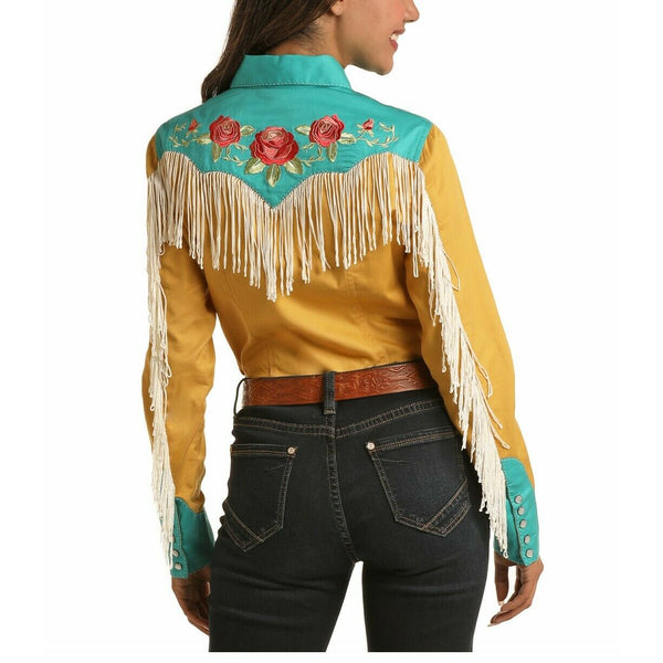 Rock & Roll Cowgirl Ladies Yellow Retro Snap Long Sleeve Shirt B4S6257