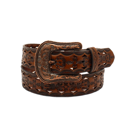 Ariat Ladies Tooled Brown With Bronze Buckle Leather Belt A1523667