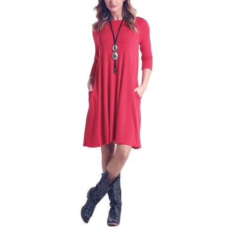 Panhandle Ladies Red 3/4 Sleeve Knit Dress J9D6803-65